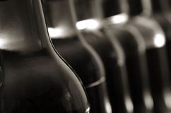 Bottle Blur. Line of bottles, first in focus, latter blurred Royalty Free Stock Images