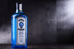 Bottle of Bombay Sapphire gin. POZNAN, POL - MAY 3, 2018: Bottle of Bombay Sapphire, a brand of gin distributed by Bacardi. Introduced to the market in 1987 by royalty free stock photography