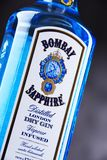 Bottle of Bombay Sapphire gin. POZNAN, POL - MAY 3, 2018: Bottle of Bombay Sapphire, a brand of gin distributed by Bacardi. Introduced to the market in 1987 by stock images