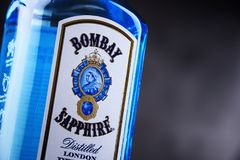 Bottle of Bombay Sapphire gin. POZNAN, POL - MAY 3, 2018: Bottle of Bombay Sapphire, a brand of gin distributed by Bacardi. Introduced to the market in 1987 by stock photos