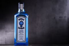 Bottle of Bombay Sapphire gin. POZNAN, POL - MAY 3, 2018: Bottle of Bombay Sapphire, a brand of gin distributed by Bacardi. Introduced to the market in 1987 by royalty free stock photos