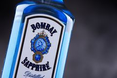 Bottle of Bombay Sapphire gin. POZNAN, POL - MAY 3, 2018: Bottle of Bombay Sapphire, a brand of gin distributed by Bacardi. Introduced to the market in 1987 by stock photography