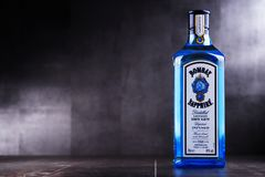 Bottle of Bombay Sapphire gin. POZNAN, POL - MAY 3, 2018: Bottle of Bombay Sapphire, a brand of gin distributed by Bacardi. Introduced to the market in 1987 by royalty free stock image