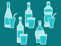 Bottle. Bottle of water. Bottle with stroke, glass with drinking straw. Vector Stock Photography