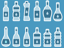 Bottle. Bottle of water. Bottle with stroke, glass with drinking straw. Vector Royalty Free Stock Photography