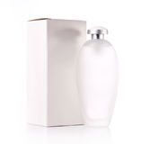 Bottle and box. White cosmetic bottle and box Royalty Free Stock Image