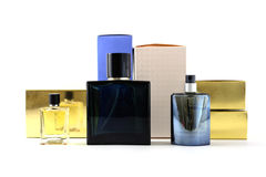Bottle and box of perfume Royalty Free Stock Photo
