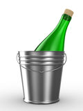 Bottle in bucket on white background Stock Photography