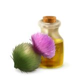 Bottle with burdock oil. Natural cosmetics vector illustration  on white background Stock Image