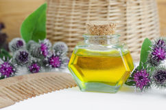 Bottle of burdock oil and wooden hair comb for natural hair care Royalty Free Stock Image