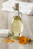 Bottle with Calendula oil Stock Image