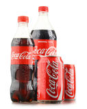 Bottle and can of carbonated soft drink Coca Cola Royalty Free Stock Photos