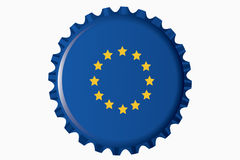 Bottle cap. With a flag of Europe Royalty Free Stock Images