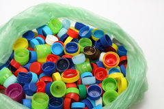 Bottle Cap. Multicolored bottle caps for recycling in a plastic Royalty Free Stock Image