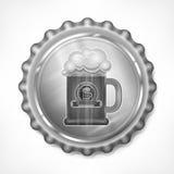 Bottle cap with beer mug Royalty Free Stock Image