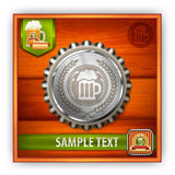 Bottle cap with beer mug & wreath Royalty Free Stock Photo
