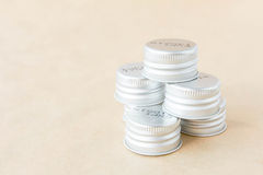 Bottle cap on a brown background Royalty Free Stock Images