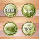 Bottle cap Design. Beer labels. On wooden background stock illustration