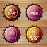 Bottle cap Design. Beer labels Stock Images