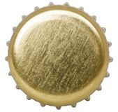 Golden bottle cap isolated on white background stock image