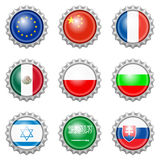 Bottle cap national flags Royalty Free Stock Images
