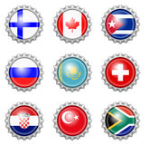 Bottle cap national flags Stock Images