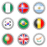 Bottle cap national flags Royalty Free Stock Image
