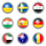Bottle cap national flags Royalty Free Stock Photos
