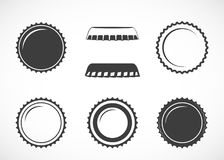 Bottle cap. Set of vector icons. stock images