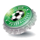 Bottle cap with soccer festival Stock Photo