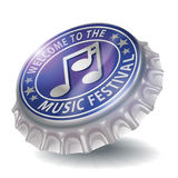 Bottle cap welcome to the music festival Stock Image