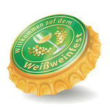 Bottle cap with white wine festival Royalty Free Stock Photo