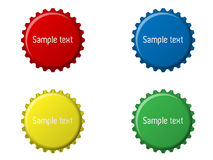Bottle caps. Four bottle cap illustration with sample text Stock Illustration