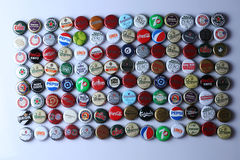 Bottle caps of beers and beverages Stock Photos