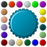 Bottle caps in colors collection Stock Images