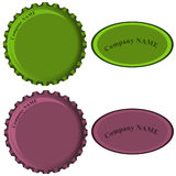 Bottle caps with labes in colors collection Stock Image