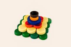 Bottle caps pyramid Stock Photo