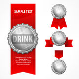Bottle caps & red ribbon on white. Metallic bottle caps with red ribbon on white background,  illustration Stock Photography