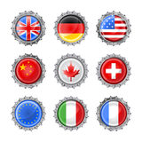 Bottle caps set-flags Royalty Free Stock Images