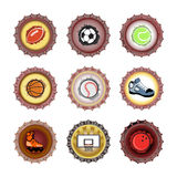 Bottle caps set-sport Royalty Free Stock Photo