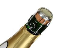 Bottle of a champagne. Not opened bottle of a champagne with the removed foil Royalty Free Stock Photo