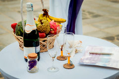 A bottle of champagne. Beautiful glasses Royalty Free Stock Photography