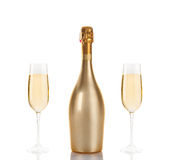 Bottle of champagne Stock Images