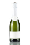 Bottle of champagne with blank label Stock Photo