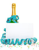 Bottle of champagne with blank sign Royalty Free Stock Photos