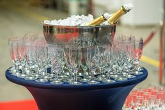 Champagne in bucket with ice. Bottle of champagne in bucket of ice Stock Photography