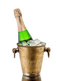 Bottle champagne in a bucket with ice Stock Photo