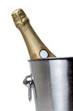 Bottle of champagne in bucket Royalty Free Stock Photography