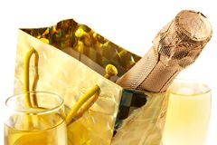Bottle of a champagne in celebratory packing Royalty Free Stock Photo