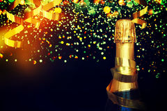 Bottle of champagne.Christmas background Stock Photo